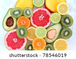 tropical fruits on the snow | Shutterstock . vector #78546019