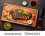 grilled black angus steak and a ... | Shutterstock . vector #785461021