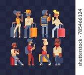 vector set of people traveling. ... | Shutterstock .eps vector #785466124
