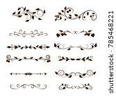 curls and scrolls set. frame...   Shutterstock . vector #785468221