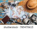 overhead view of traveler's... | Shutterstock . vector #785470615