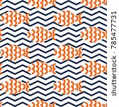 seamless pattern with fishes on ... | Shutterstock .eps vector #785477731