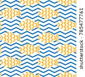 seamless pattern with fishes on ... | Shutterstock .eps vector #785477761