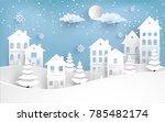 views of housing in winter.... | Shutterstock .eps vector #785482174