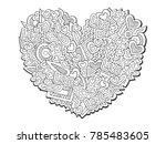 doodles love ornament. saint...   Shutterstock . vector #785483605