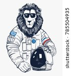 lion astronaut  hand drawn... | Shutterstock .eps vector #785504935