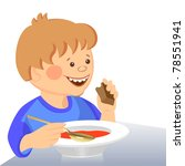 cute boy eats with a spoon from ... | Shutterstock . vector #78551941