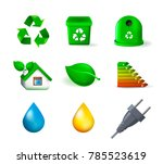 set of ecology elements on... | Shutterstock .eps vector #785523619