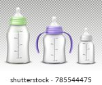 vector realistic baby bottles... | Shutterstock .eps vector #785544475