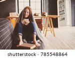 young sick woman healing with... | Shutterstock . vector #785548864