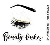lashes lettering. vector...   Shutterstock .eps vector #785550325