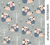 Seamless Pattern Hedgehogs With ...
