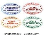 set of stylised passport stamps ... | Shutterstock .eps vector #785560894