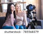 best friends. happy positive... | Shutterstock . vector #785568379
