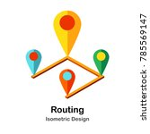 route and pin isometric... | Shutterstock .eps vector #785569147