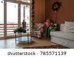 wooden cottage interior with... | Shutterstock . vector #785571139