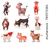 cute cow characters set  funny... | Shutterstock .eps vector #785572381