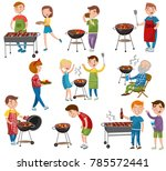 happy people eating and cooking ... | Shutterstock .eps vector #785572441