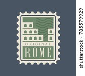 rome city postal stamp with... | Shutterstock .eps vector #785579929