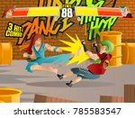 videogame fighting players stage | Shutterstock .eps vector #785583547