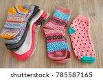knitted warm socks. socks for... | Shutterstock . vector #785587165