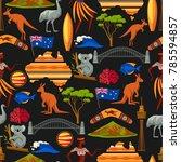 australia seamless pattern.... | Shutterstock .eps vector #785594857