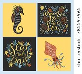 vector sea cards set with... | Shutterstock .eps vector #785597965