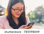 closeup of young women smiling... | Shutterstock . vector #785598049