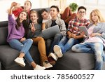 group of teenagers with modern... | Shutterstock . vector #785600527