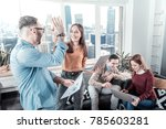 give me five. two satisfied... | Shutterstock . vector #785603281
