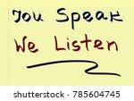 you speak  we listen  | Shutterstock . vector #785604745