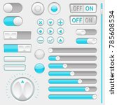 set of white and blue interface ...