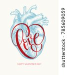 valentines day card with human... | Shutterstock .eps vector #785609059