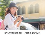 young female traveller or asian ... | Shutterstock . vector #785610424