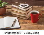 opened diary and heart  flower  ... | Shutterstock . vector #785626855