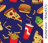 pop junk food seamless pattern | Shutterstock .eps vector #785629171