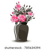 vase with  pink roses  | Shutterstock .eps vector #785634394