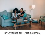 young interracial couple in the ... | Shutterstock . vector #785635987