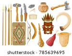 ancient tools set isolated on... | Shutterstock .eps vector #785639695