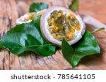 markisa or passiflora edulis... | Shutterstock . vector #785641105