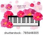 Piano Musical Card With Flower...