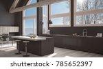 modern kitchen in classic villa ... | Shutterstock . vector #785652397