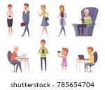 people with gadgets decorative... | Shutterstock . vector #785654704