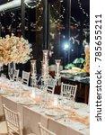wedding table setup | Shutterstock . vector #785655211