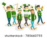 group of caucasian white happy... | Shutterstock .eps vector #785660755