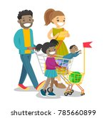 happy multicultural family with ... | Shutterstock .eps vector #785660899
