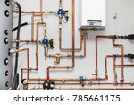 heating system with copper... | Shutterstock . vector #785661175