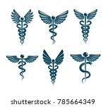 set of vector caduceus symbols... | Shutterstock .eps vector #785664349