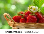Strawberries In A Basket In Th...