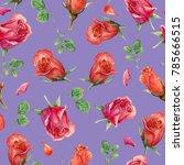 seamless flower pattern with... | Shutterstock . vector #785666515